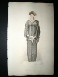 Ackermann 1811 Hand Col Regency Fashion Print. Mourning Dress 6-36